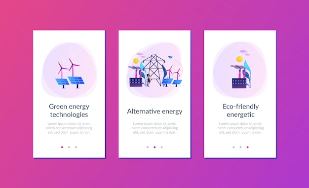 Alternatieve energie app-interfacemalplaatje.