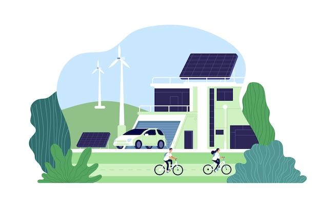 Alternatieve energie. milieustad, zonne-energie. bio-hulpbronnen, alternatief slim hernieuwbaar. electro innovaties concept. illustratie alternatieve eco-energie, hernieuwbare hulpbronnen