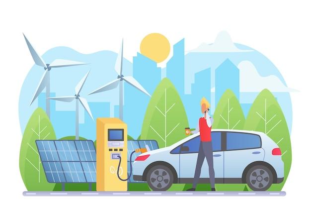 Alternatieve energiebronnen, man bij elektrische auto laadstation illustratie