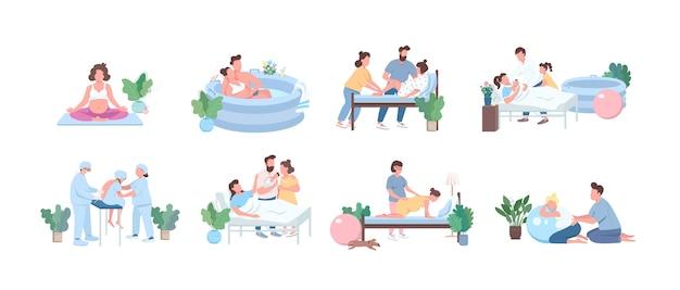 Alternatieve geboorte egale kleur gezichtsloze tekenset