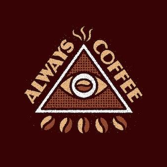 Altijd koffie grunge logo-ontwerp