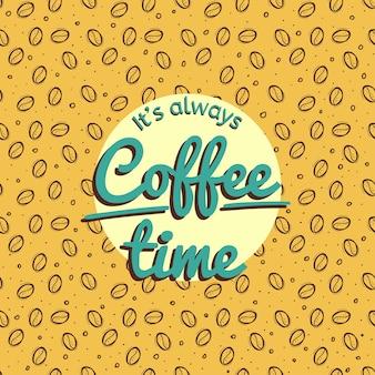 Altijd koffie tijd retro ontwerp vectorillustratie