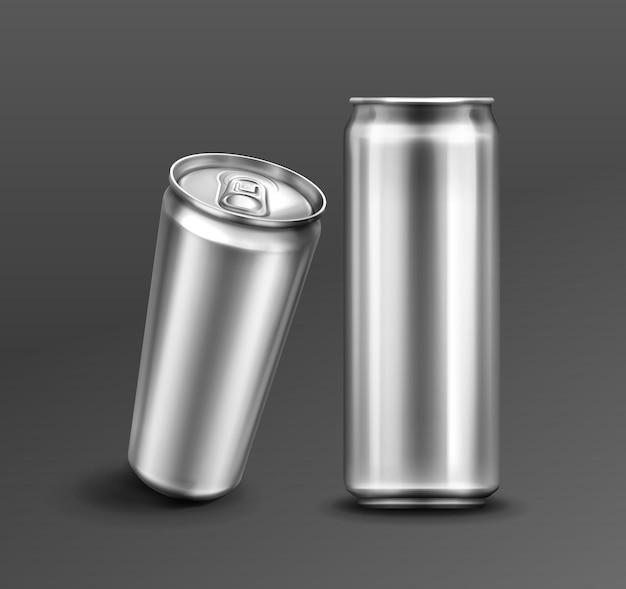 Aluminium blikje voor frisdrank of bier vooraan en in perspectief