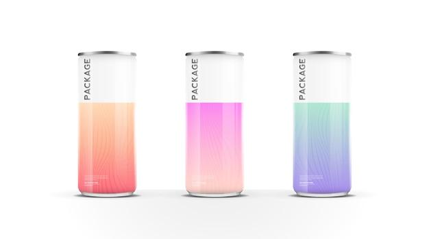 Aluminium blikjes voor bier water sap energiedrank of frisdrank pack mock-up sjabloonontwerp vector