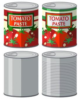 Aluminium kan met en zonder label illustratie