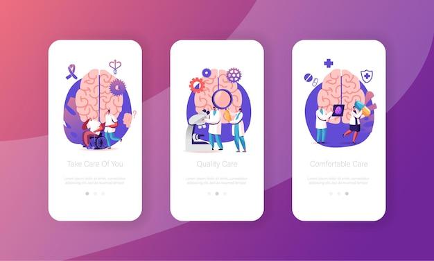 Alzheimer en dementie ziektesymptomen mobiele app-paginaschermsjablonen.