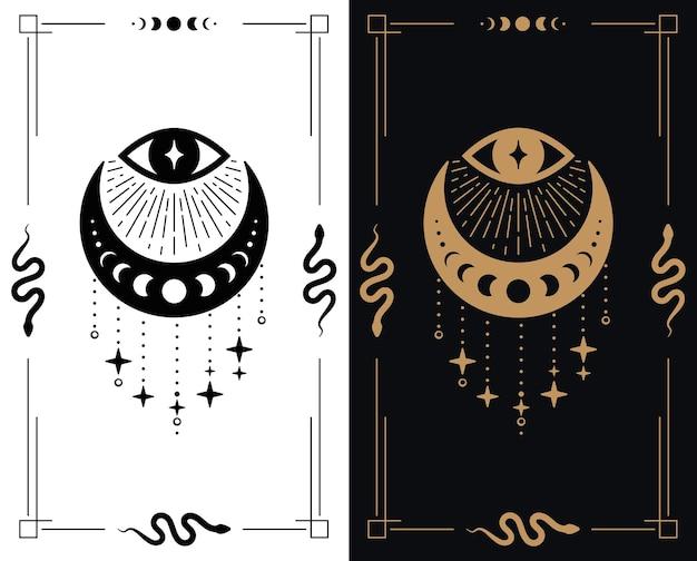 Alziend oog met halve maan en sterren voor esoretisch thema-ontwerpsjabloon in twee kleuren