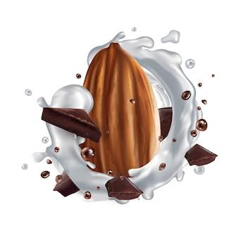 Amandel met stukjes chocolade en een scheutje melk.