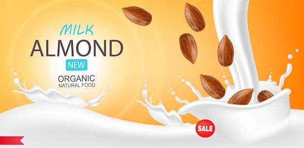 Amandelmelk realistisch, biologische melk, mooie achtergrond, splash melk, nieuw product