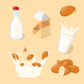 Amandelmelkglas, splash, fles, pack icon set. gezond eten cartoon afbeelding geïsoleerd