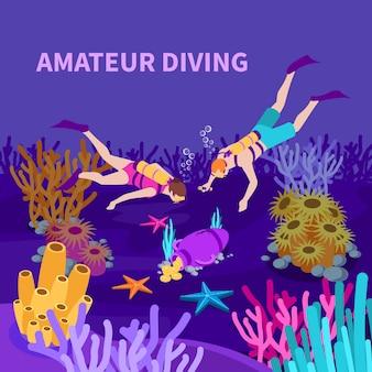 Amateur die isometrische samenstelling met duikers en amfora duiken met de vectorillustratie van de muntstukken op zee bed