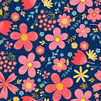 Amazing floral vector naadloze patroon van heldere kleurrijke bloemen in schattige vintage stijl. mooie kleurrijke bloemen achtergrond. lente primitieve textuur. ontwerp folk stijl concept voor mode print.