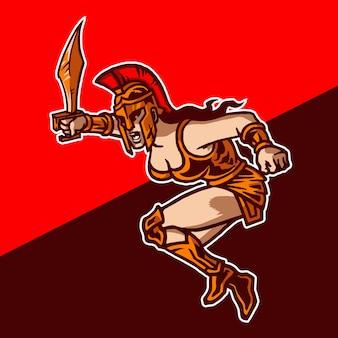 Amazones vrouwelijke krijger mascotte-logo