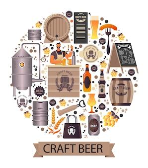 Ambachtelijk bier gemaakt in premium brouwerijcirkelbanner