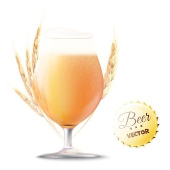 Ambachtelijk bier. glas beer met tarwe oren