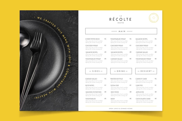 Ambachtelijk restaurant eten menu vintage stijl