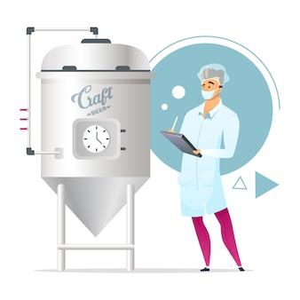 Ambachtelijke bier brouwen fase egale kleur illustratie. fabriekssupervisor. mannelijk karakter naast gistingstank. microbrouwerij. kleine brouwerij. fabriek. geïsoleerde stripfiguur op wit