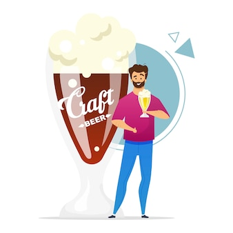 Ambachtelijke bier consument egale kleur illustratie. microbrouwerij. kleine brouwerij.