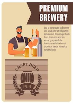 Ambachtelijke bierproductie in premium brouwerij, barman die smakelijke alcoholische drank uit de tap giet. man die klanten van de winkel bedient. promotieposter of banner met voorbeeldtekst. vector in vlakke stijl