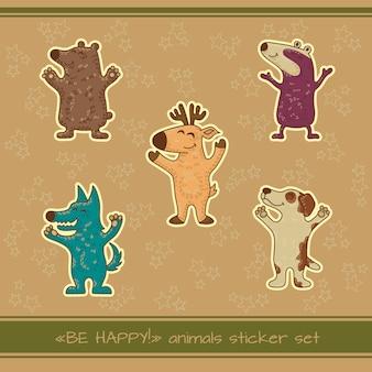 Ambachtelijke doodle tribale stickers met dieren.