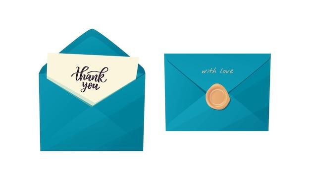 Ambachtelijke envelop met bedankbrief