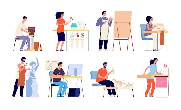 Ambachtelijke hobby. creatieve kunstenaars, geïsoleerde mensen en ambachtelijk proces. platte volwassenen, bloemschikken en naaien, tekenen en ontwerpen vector set. kunstenaar handwerk, vrouw en man handgemaakte illustratie