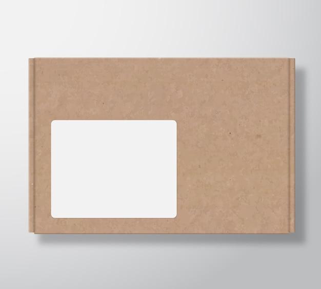 Ambachtelijke kartonnen doos met doorzichtig wit vierkant labelsjabloon.