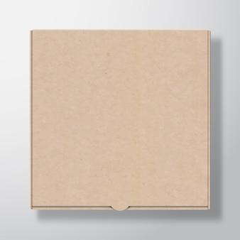 Ambachtelijke kartonnen pizzadoos containersjabloon realistische kartonnen textuur papieren verpakking mock-up met s ...