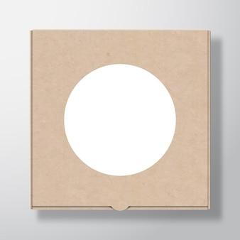 Ambachtelijke kartonnen pizzadooscontainer met doorzichtige witte ronde labelsjabloon
