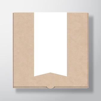 Ambachtelijke kartonnen pizzadooscontainer met doorzichtige witte vlaggestreepte bannerlabelsjabloon