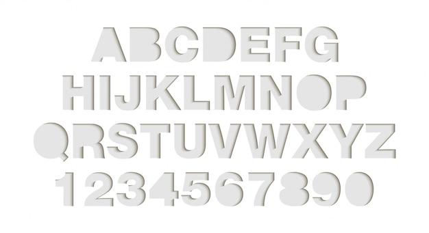 Ambachtelijke papier gesneden witte vormen lettertype.