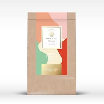 Ambachtelijke papieren zak met citruschocolade-etiket.