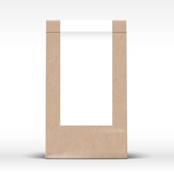 Ambachtelijke papieren zak met doorzichtig wit labelsjabloon