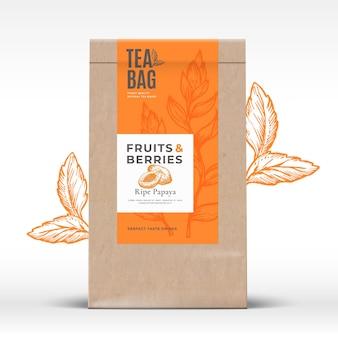 Ambachtelijke papieren zak met fruit en bessen thee label abstracte vector verpakking ontwerp lay-out met realis...