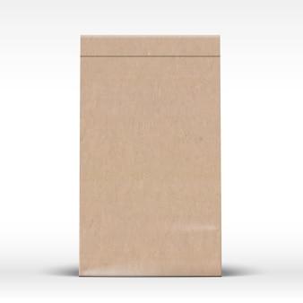 Ambachtelijke papieren zak sjabloon realistische kartonnen textuur verpakking mock-up met zachte schaduw geïsoleerd