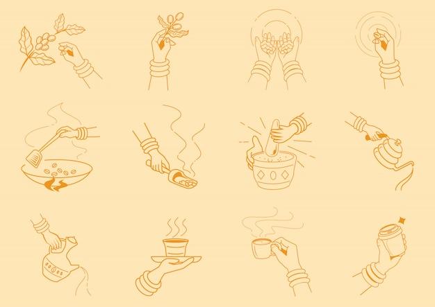 Ambachtkoffie die met handillustratie maken