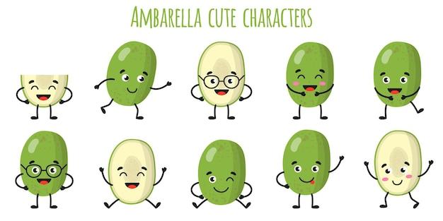 Ambarella fruit schattige grappige vrolijke karakters met verschillende poses en emoties. natuurlijke vitamine antioxidant detox voedsel collectie. cartoon geïsoleerde illustratie.