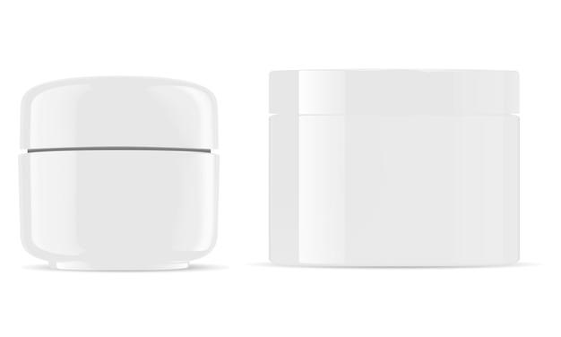 Amberkleurige glanzende plastic containers voor cosmetische crème, poeder, zalf
