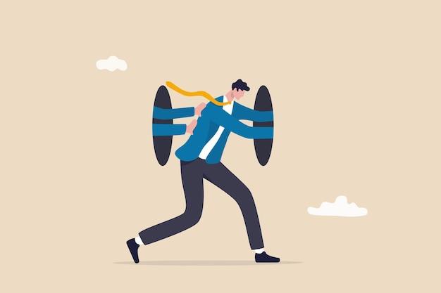 Ambitie en motivatie om jezelf te blijven pushen om moeilijkheden te overwinnen, aanmoediging, houding om succesconcept te zijn, geïnspireerde zakenman blijft zichzelf pushen om vooruit te gaan en te verbeteren naar succes.