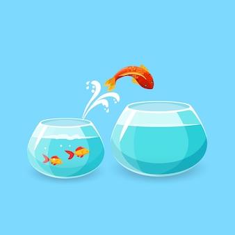 Ambitie en uitdaging concept. goudvis springt in een groter leeg aquarium. verlangen om het leven beter te maken. vis die in een lege kom ontsnapt. nieuw leven, grote kansen. vlakke stijl. illustratie.