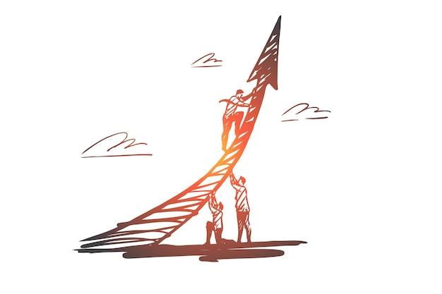 Ambitie, succes, groei, motivatie, vooruitgangsconcept. hand getekende ambitieuze zakenman concept schets.