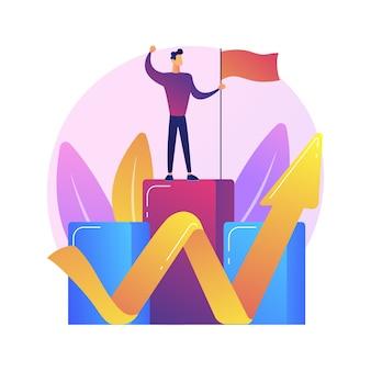 Ambitieuze zakenman bovenop. bedrijfsgroei, leiderschapskwaliteit, carrièrekansen. succesverwezenlijking, idee voor realisatie van ambities.