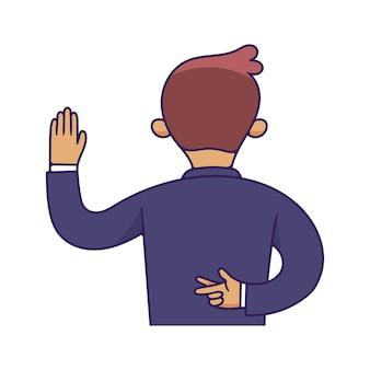 Ambtenaren of zakenman legt meineed, een volwassene en een nep-eed af