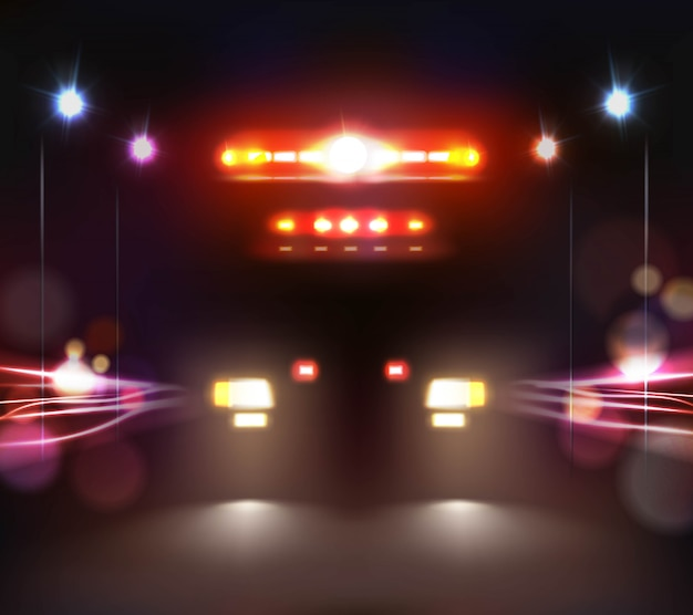Ambulance at night illustratie