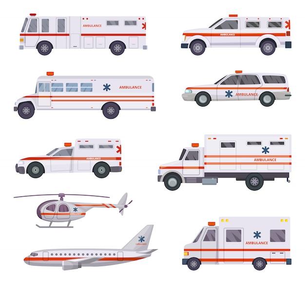 Ambulance auto's. gezondheid reddingsdienst voertuig van helikopter paramedicus noodhospitaal dringende auto 911 vector cartoon foto's