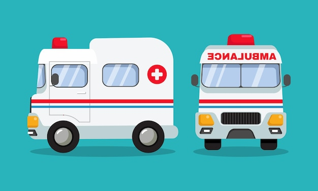 Ambulance auto voertuig in zij- en vooraanzicht vlakke stijl vector cartoon design