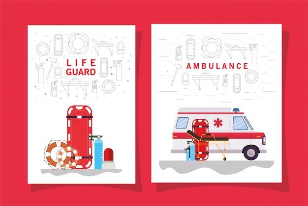 Ambulance brancard met zuurstofcilinders en reddingsboei