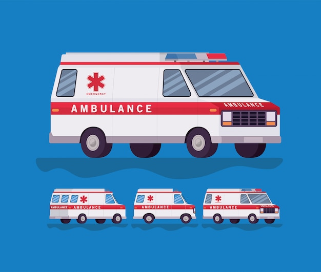Ambulance en paramedicus auto zijaanzicht decorontwerp