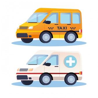 Ambulance en taxivervoer de illustratieontwerp van voertuigen