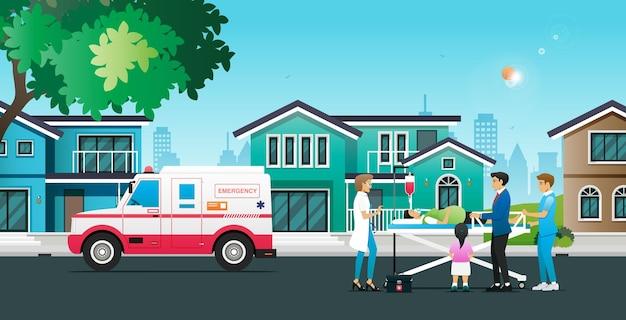 Ambulance haalt patiënten thuis op met artsen en verpleegkundigen.